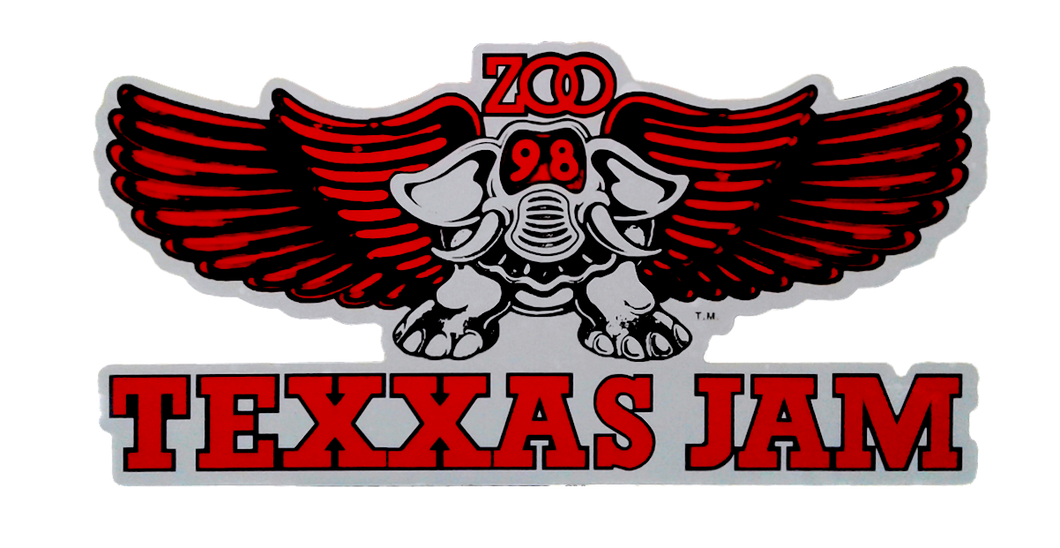 TEXXAS JAM Sticker-White Trim-Original Size