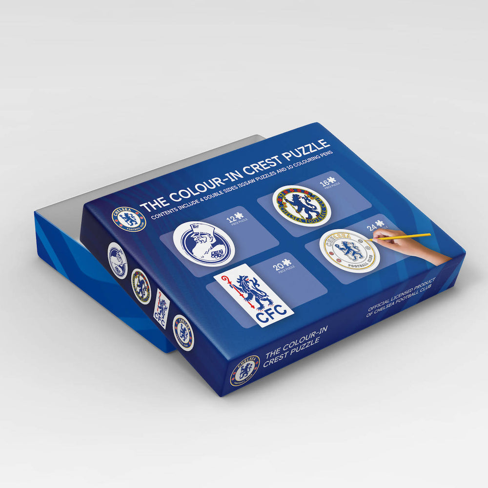 Chelsea crest colour-in jigsaw puzzle