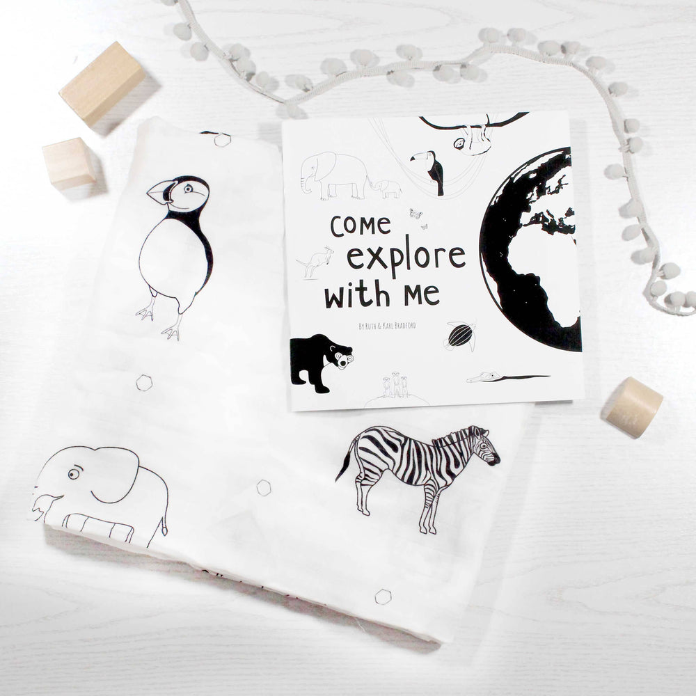 Storybook and organic muslin gift set