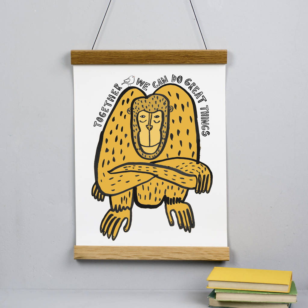 Orangutan 'Together We Can Do Great Things' Print