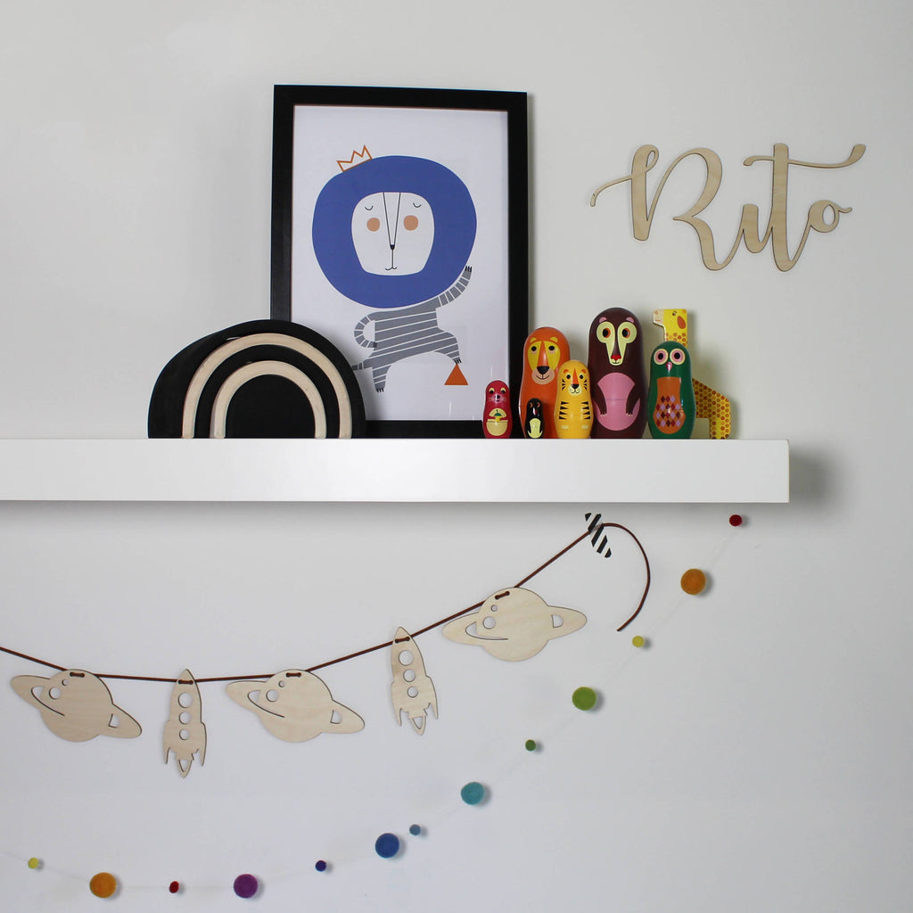 Rocket and planet garland