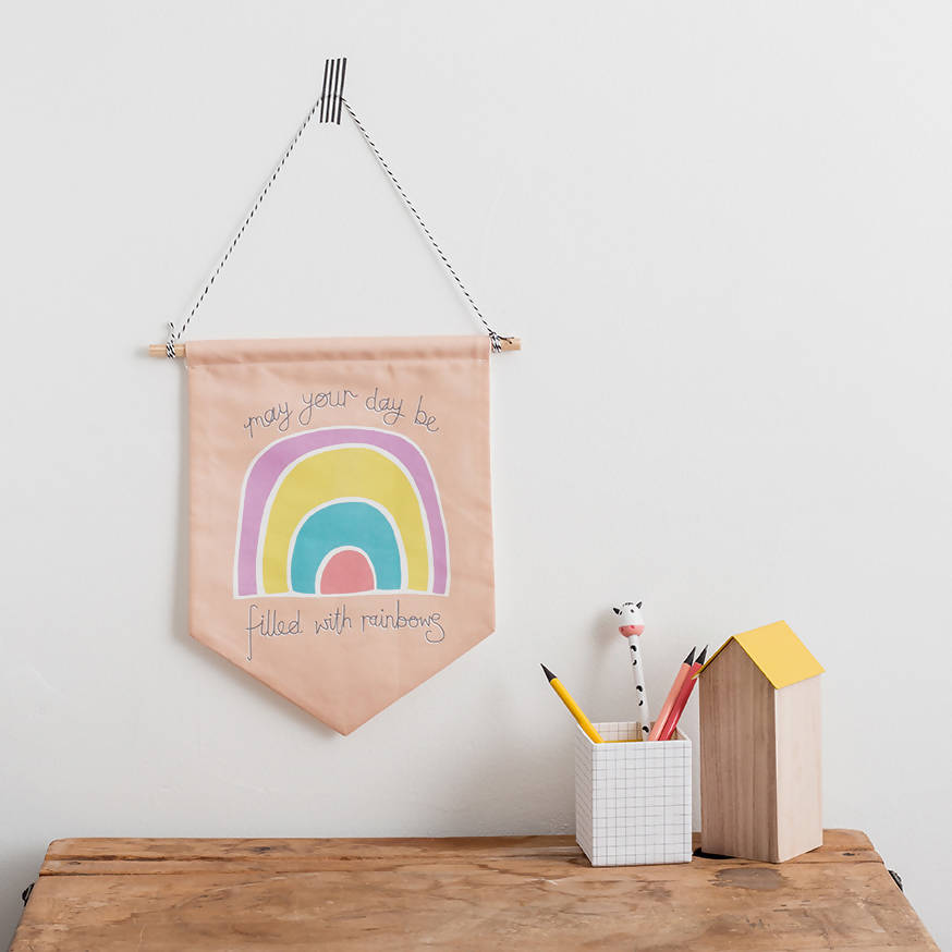 Peach Rainbow- Happy Mantra Flag