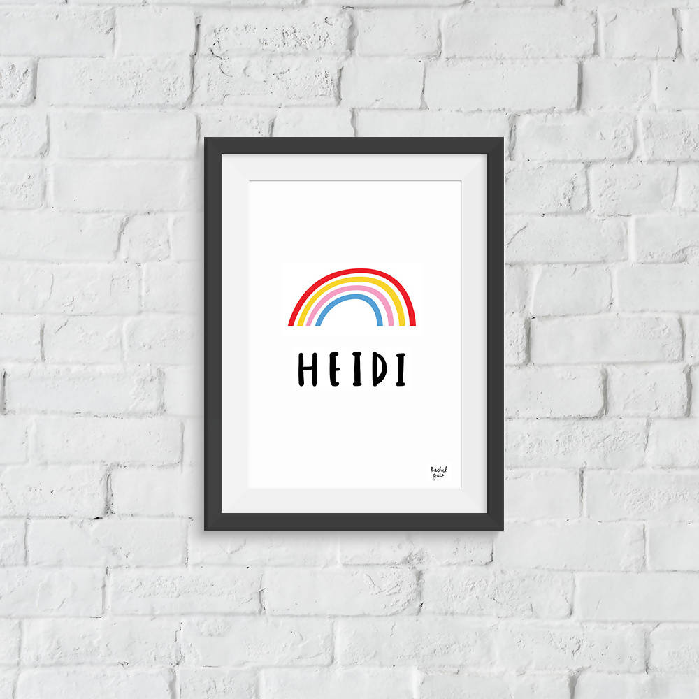 'Be a Rainbow' Personalised Name Print