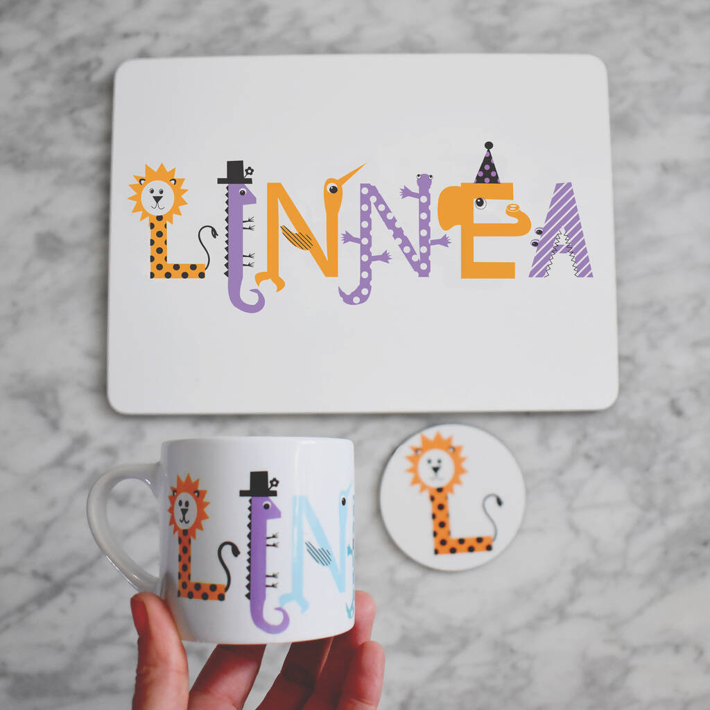 Children's Personalised Placemat, Mug and Coaster Gift Set