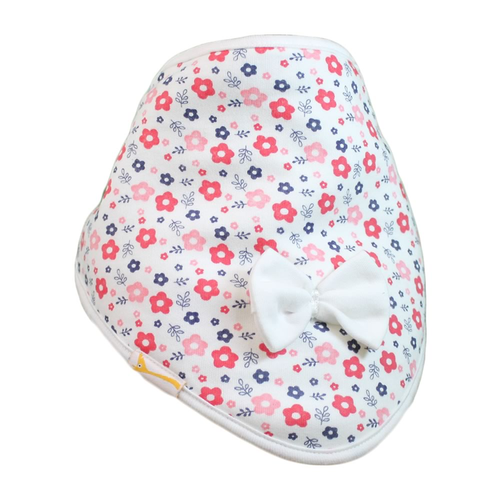 White & Red Flowers Cutie Collar Bandana Bib