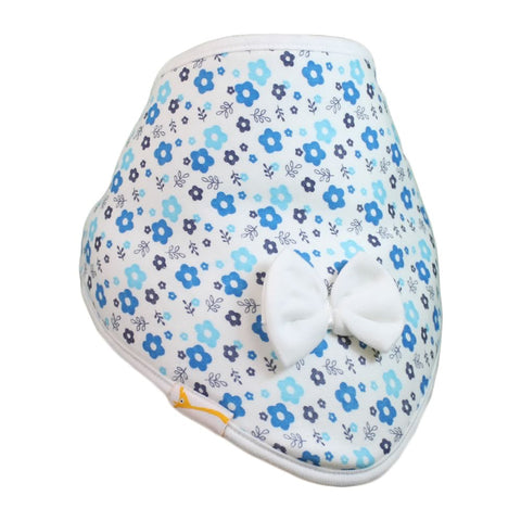 White & Blue Flowers Cutie Collar Bandana Bib
