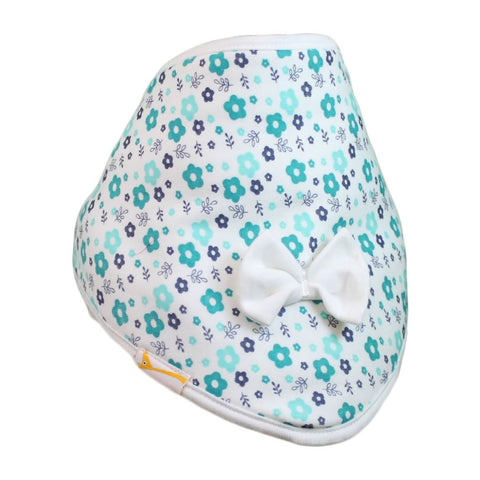 White & Teal Flowers Cutie Collar Bandana Bib