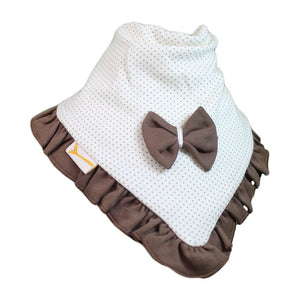 White & Brown Spots Cutie Collar Bandana Bib