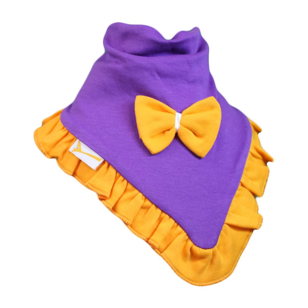 Purple & Bright Orange Plain Cutie Collar Bandana Bib
