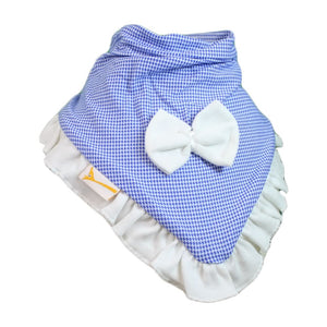Blue & White Gingham Cutie Collar Bandana Bib