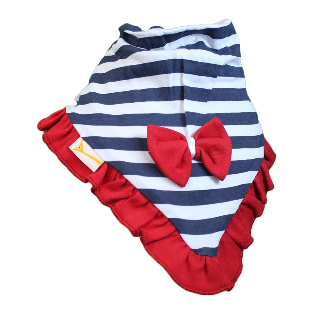 Red & Blue Stripes Cutie Collar Bandana Bib