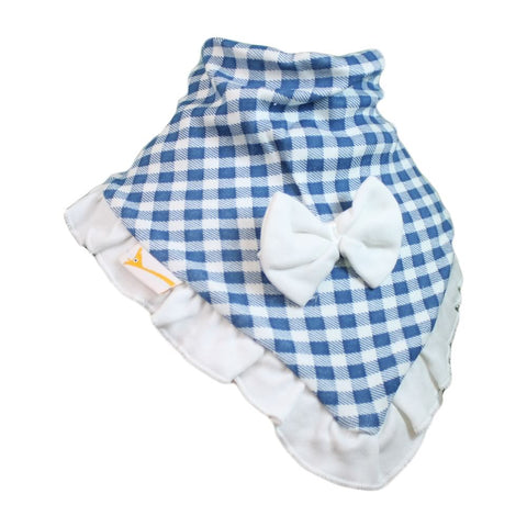 Blue & White Checkered Cutie Collar Bandana Bib