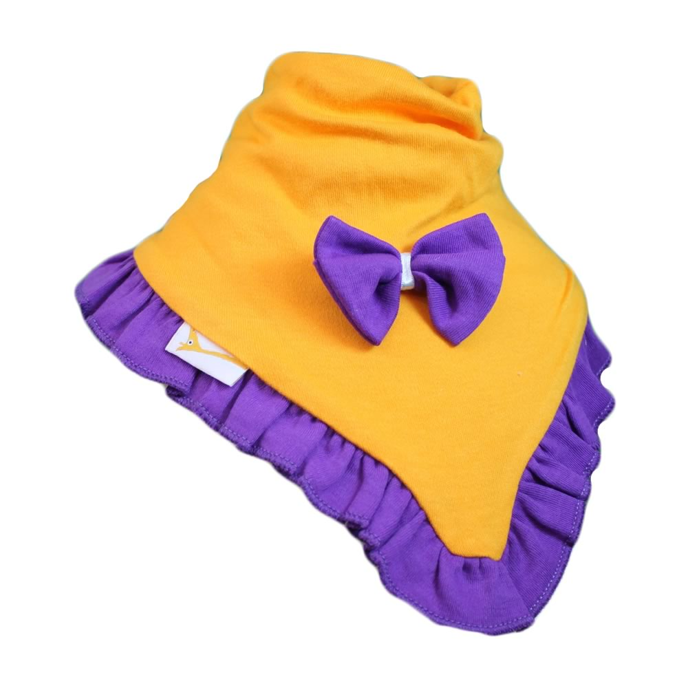 Bright Orange & Purple Plain Cutie Collar Bandana Bib