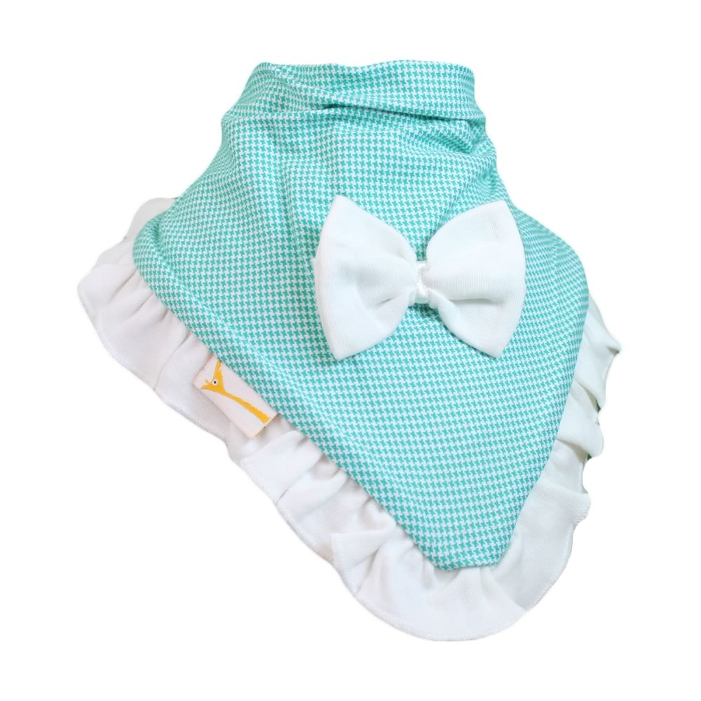 White & Teal Gingham Cutie Collar Bandana Bib