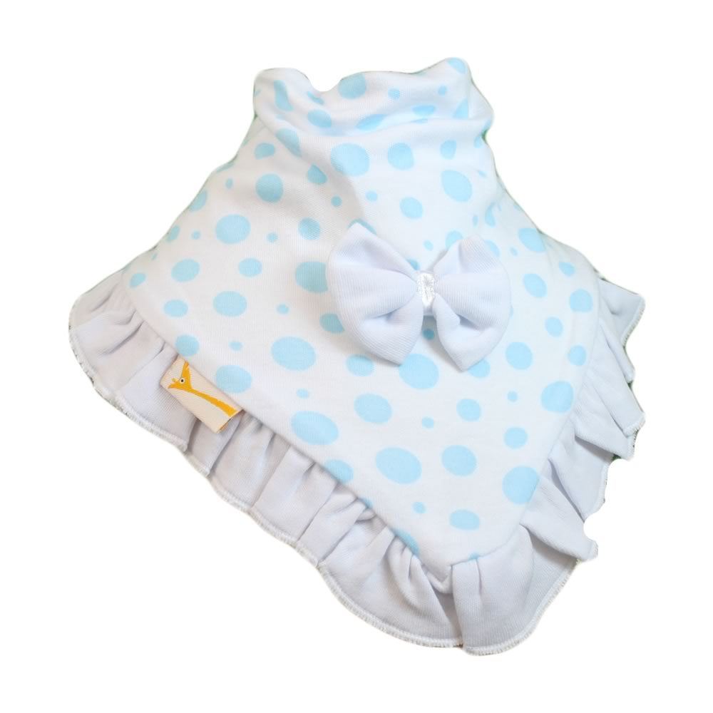 White & Light Blue Spots Cutie Collar Bandana Bib