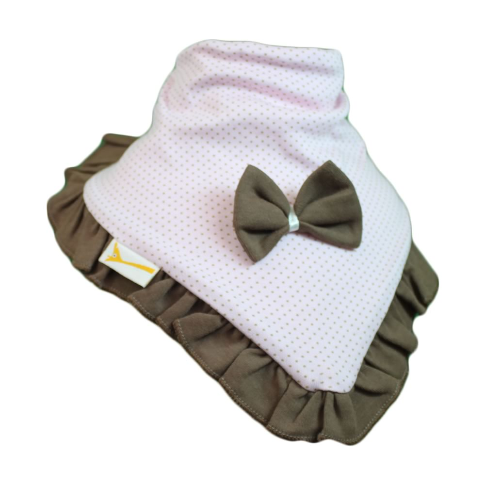 Light Pink & Small Brown Spots Cutie Collar Bandana Bib