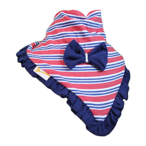 Red & Blue Horizontal Stripes Cutie Collar Bandana Bib