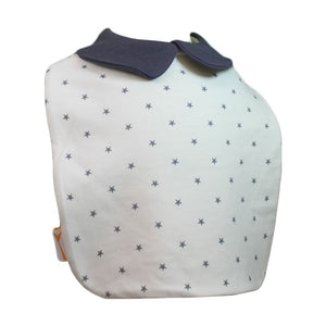 White & Grey Stars Cutie Collar Square Bib