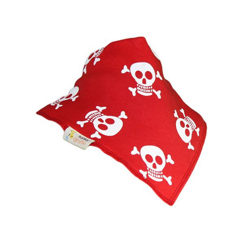 Plain Red & While Jolly Rogers Bandana Bib