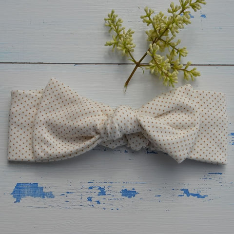 Cream Spotty Rabbit Ear Hairband