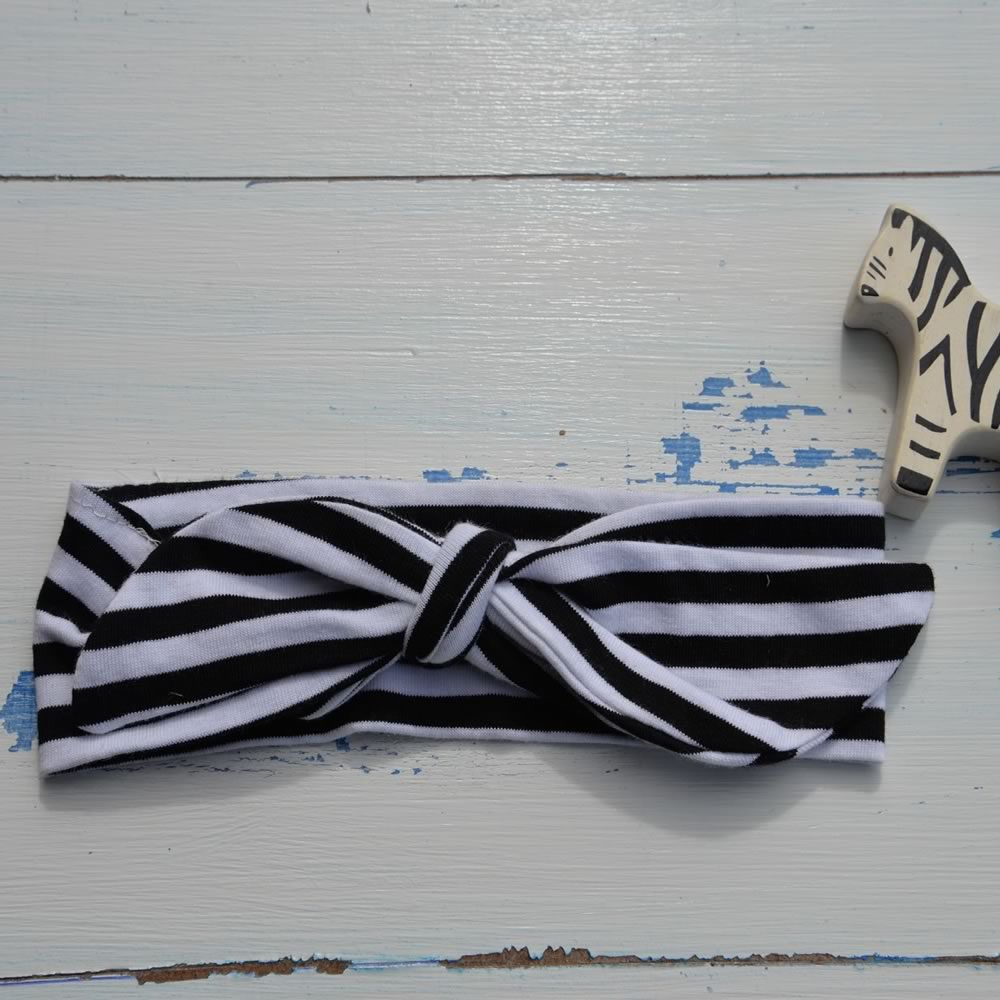 Black & White Stripey Rabbit Ear Hairband