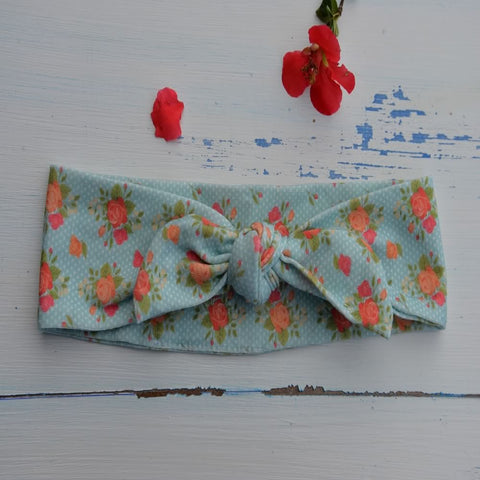 Coral Flowery Rabbit Ear Hairband