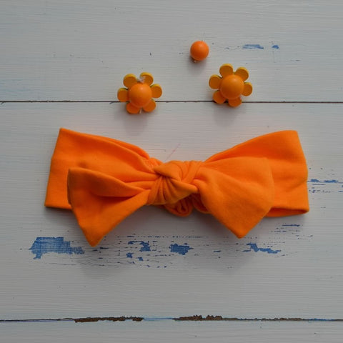 Plain Orange Rabbit Ear Hairband