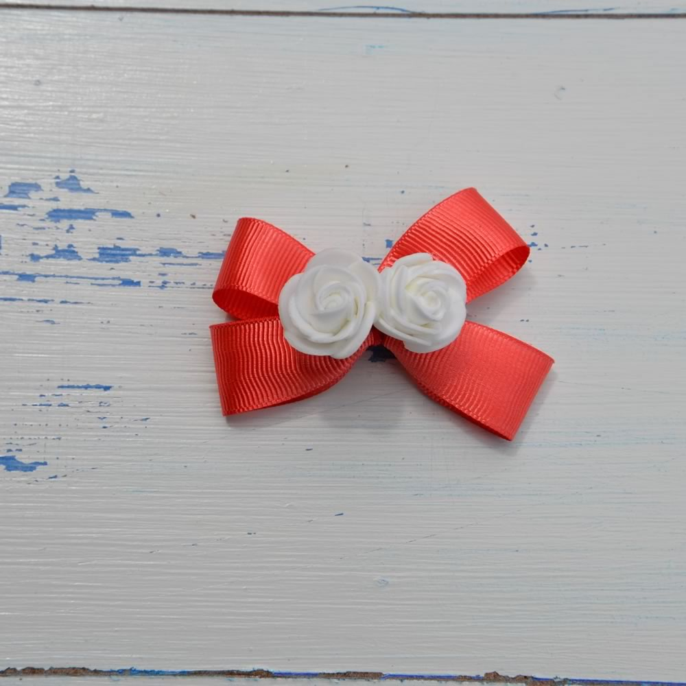 Red & White Rose Bow Hairclip