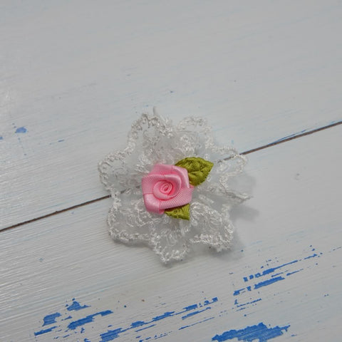 Pink Rose Bow Hairclip