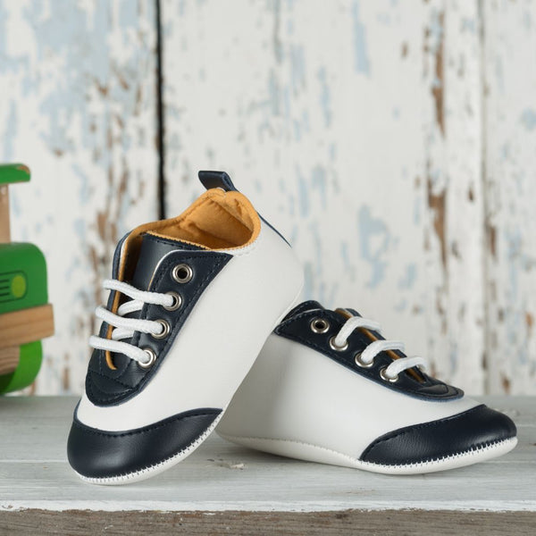 Smart White and Blue Shoes