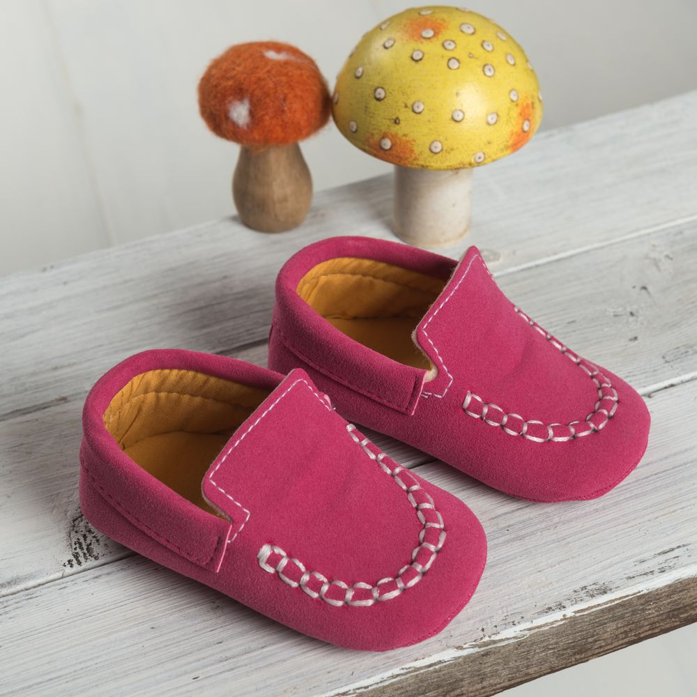 Dark Pink Moccasin Shoes