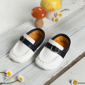 Smart White Shoes with Blue Band