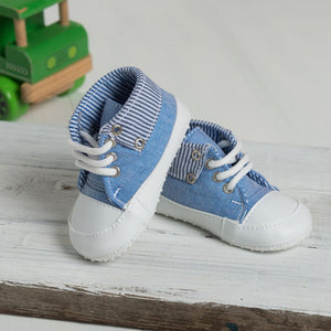 Pale Blue Booties with Stripy Lining