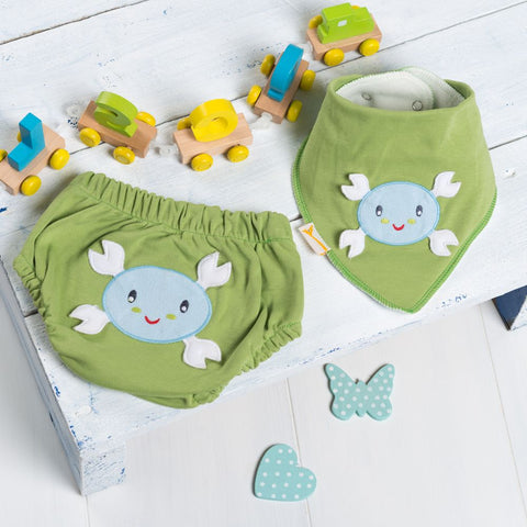 Don't be Crabby! Nappy Cover and Bib Set