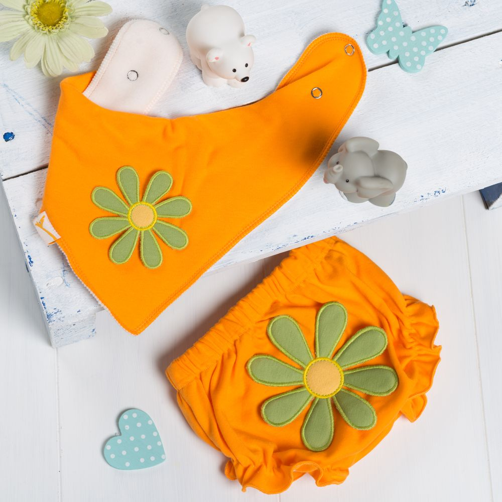 Funky Green Flower Nappy Cover and Bib Set