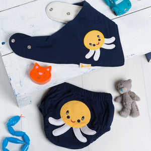 Squids In Nappy Cover and Bib Set
