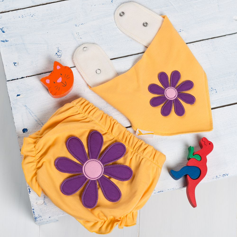 Funky Purple Flower Nappy Cover and Bib Set