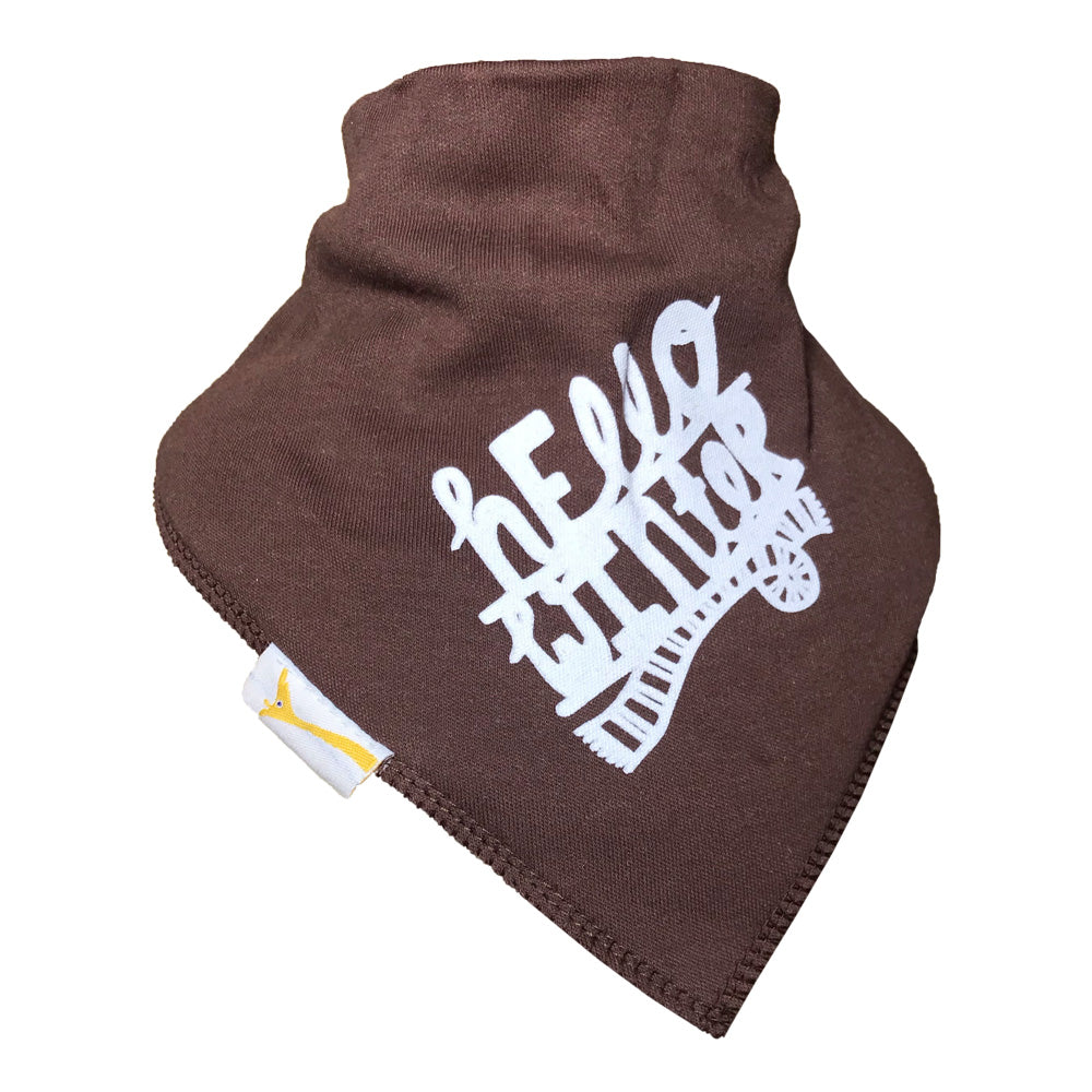 Brown Hello Winter Bandana Bib
