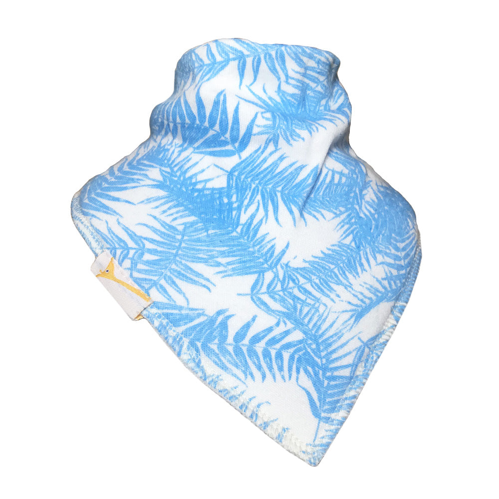 Light Blue Leaves Bandana Bib