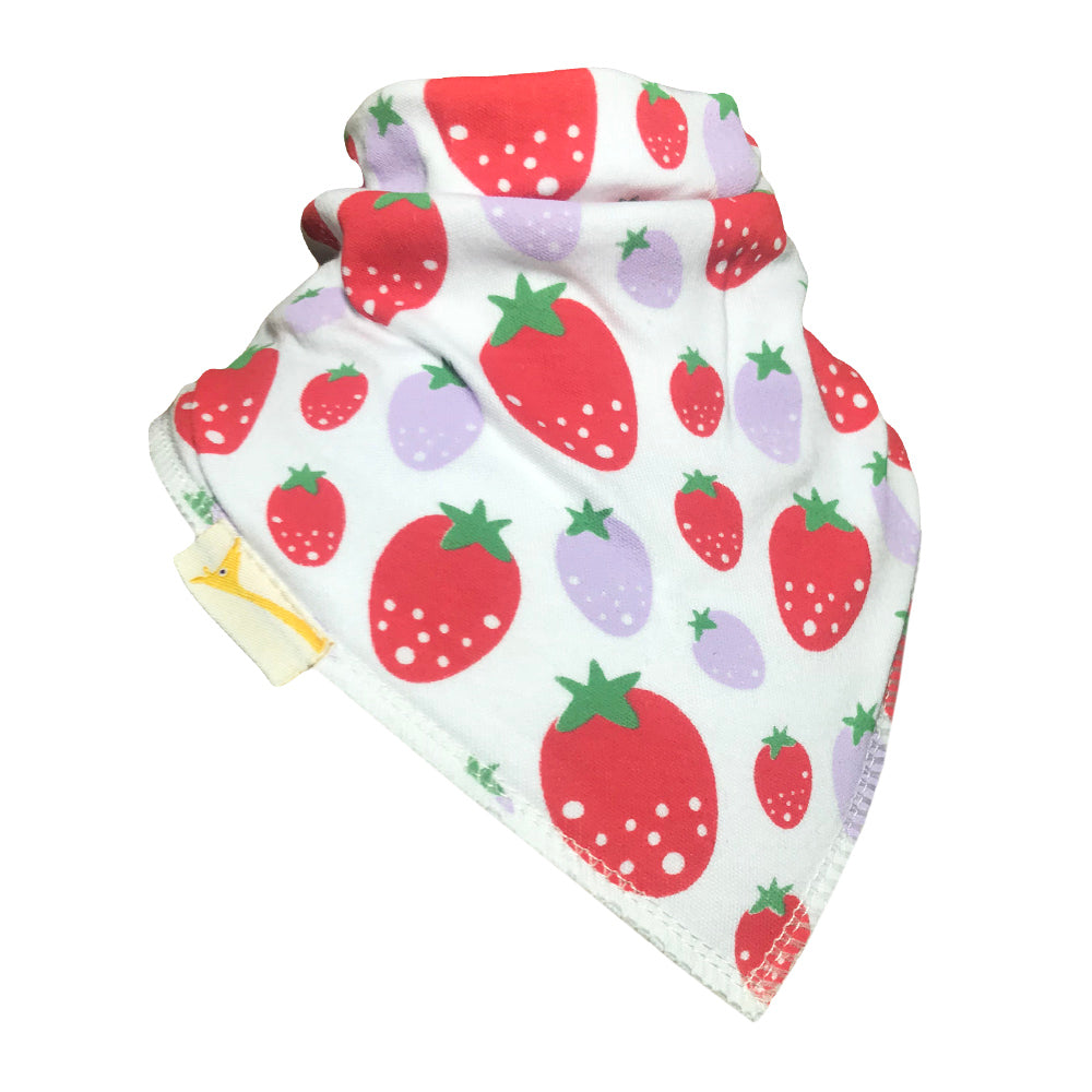 Red & Lilac Strawberries Bandana Bib
