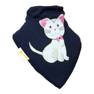 Navy Cute Kitten Bandana Bib