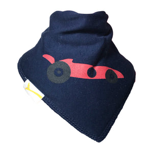 Navy Racing Car Bandana Bib