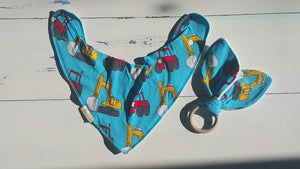 Diggers Bib & Teething Ring Set