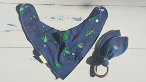 Spaceship Bib & Teething Ring Set