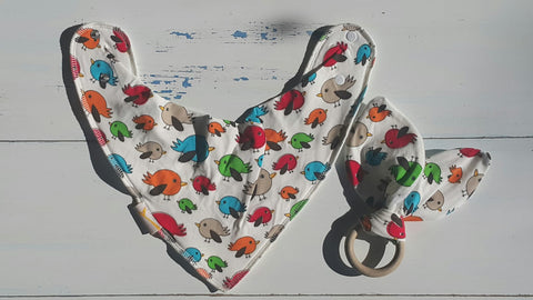 Birds Bib & Teething Ring Set