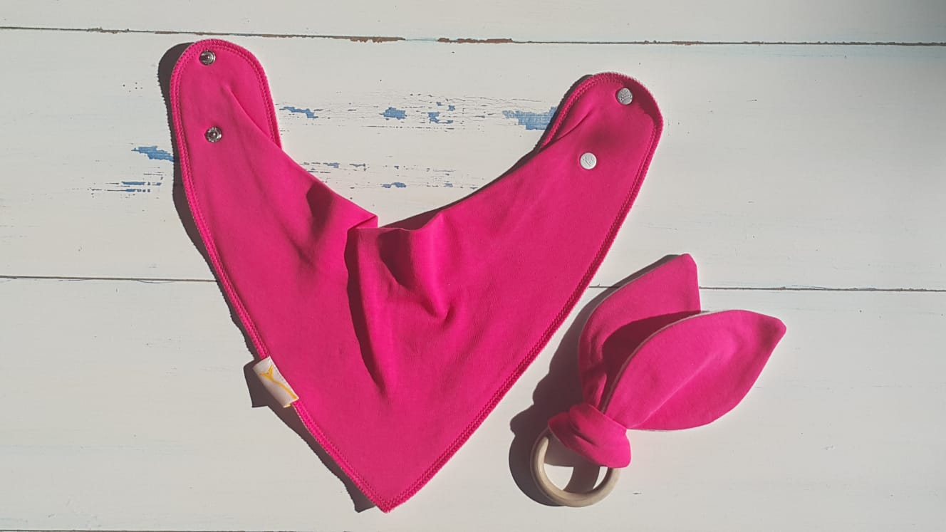 Bold Pink Bib & Teething Ring Set