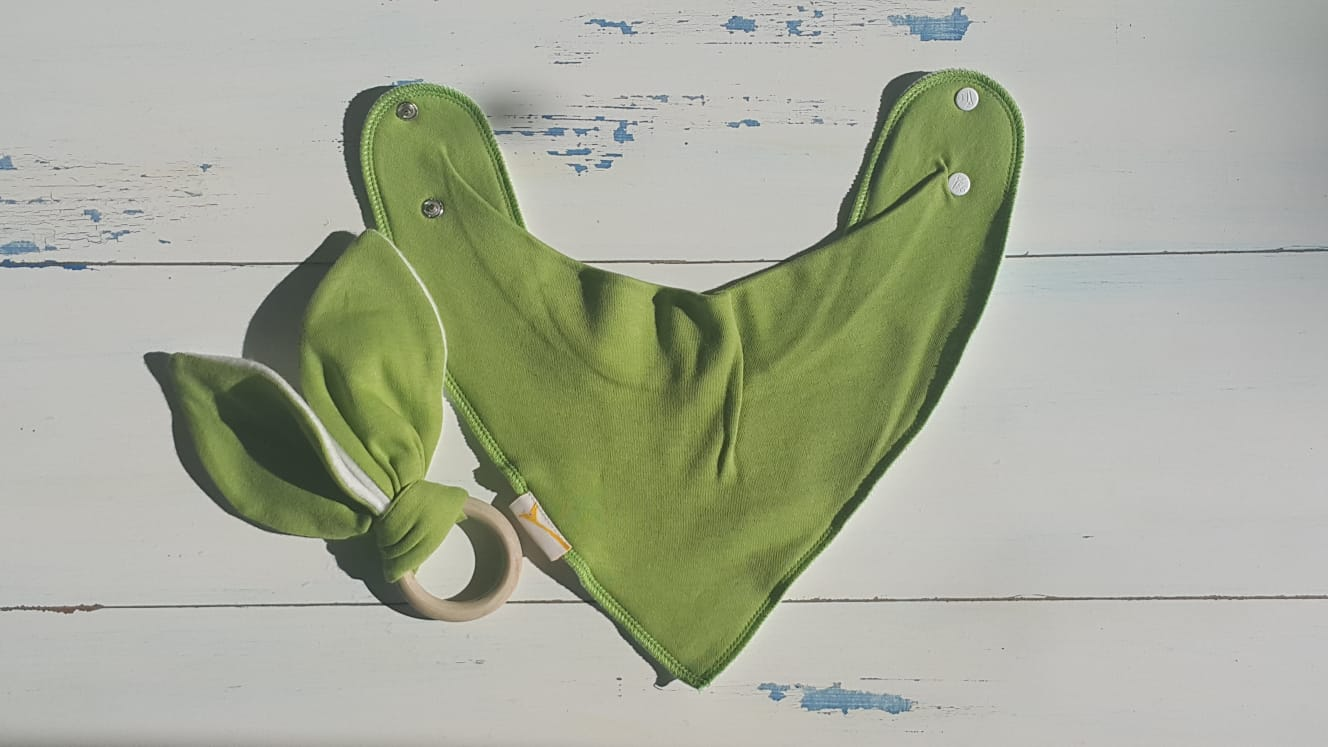 Lime Green Bib & Teething Ring Set