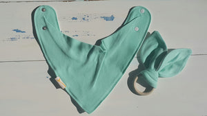 Teal Bib & Teething Ring Set