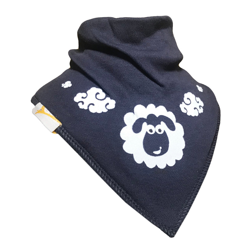 Grey & White Sheep Clouds Bandana Bib