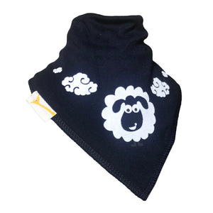 Navy & White Sheep Clouds Bandana Bib